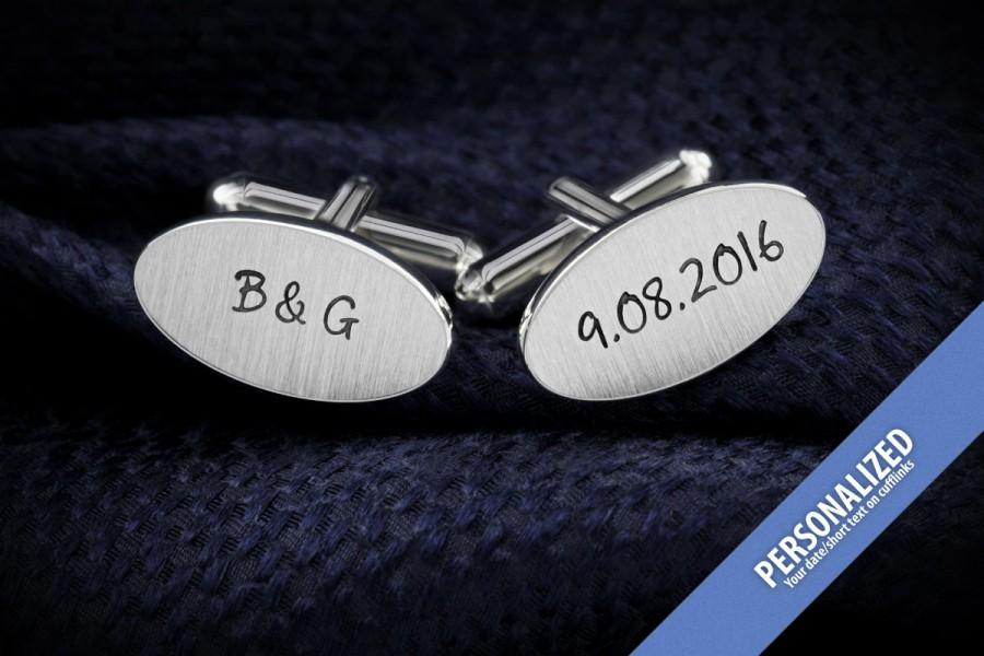 Engraved Cufflinks Wedding Groom Gift From Bride Personalized In Sterling Silver