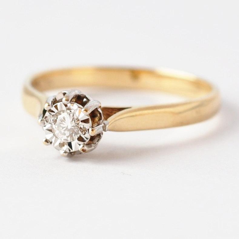 Solitaire Engagement Rings Vintage Diamond 9k Gold Size 7 25