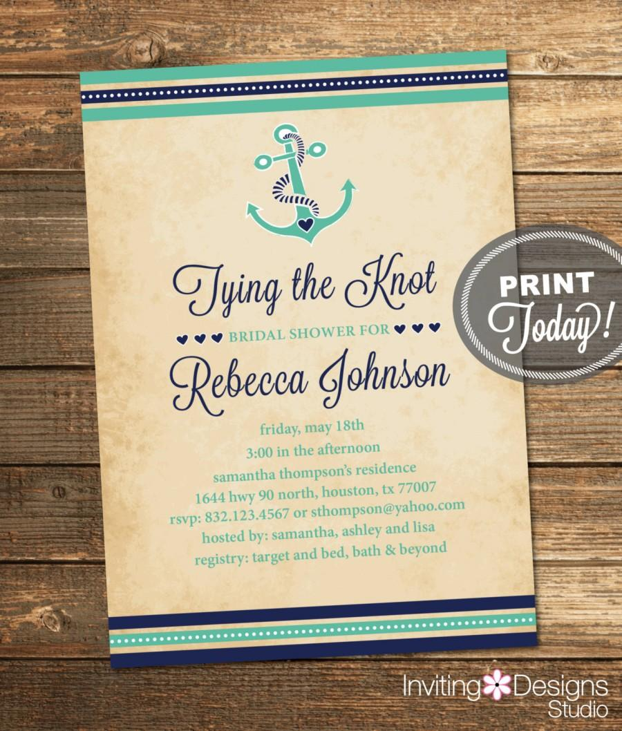 Nautical Bridal Shower Invitation Tying The Knot Anchor Navy Mint Green Destination Wedding Printable File Instant Ids1015