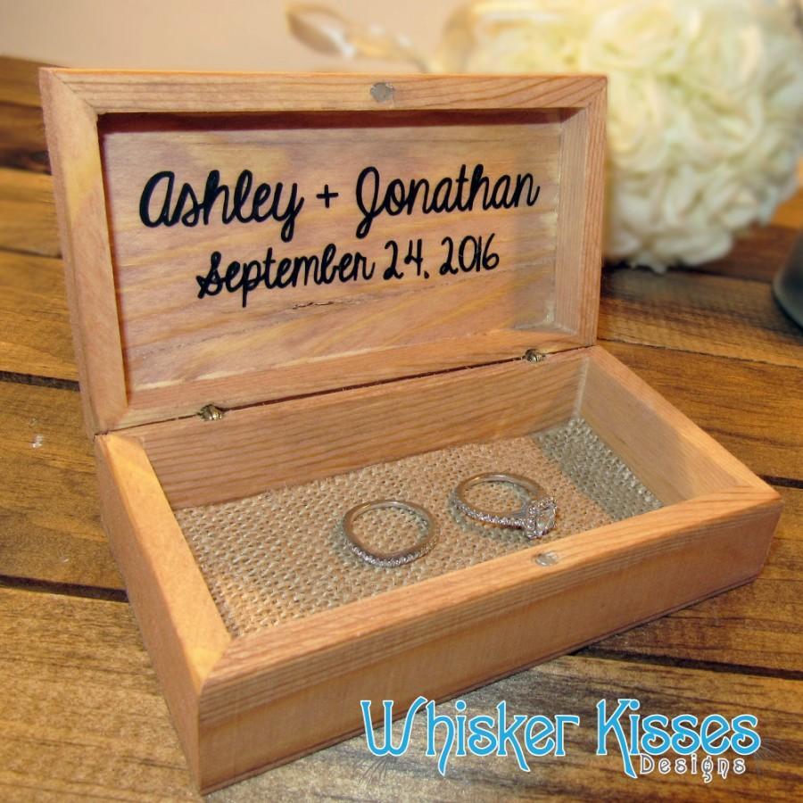 Rustic Wedding Ring Box Proposal Engagement Personalized Bearer Holder Destination Beach Vinyl Wooden
