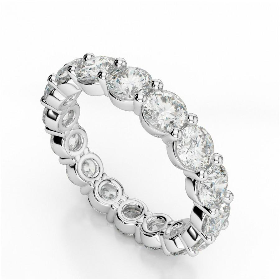 4 Carat Forever Brilliant Moissanite Eternity Band Wedding Rings Stacking Bands Stackable Stacked Jewelry