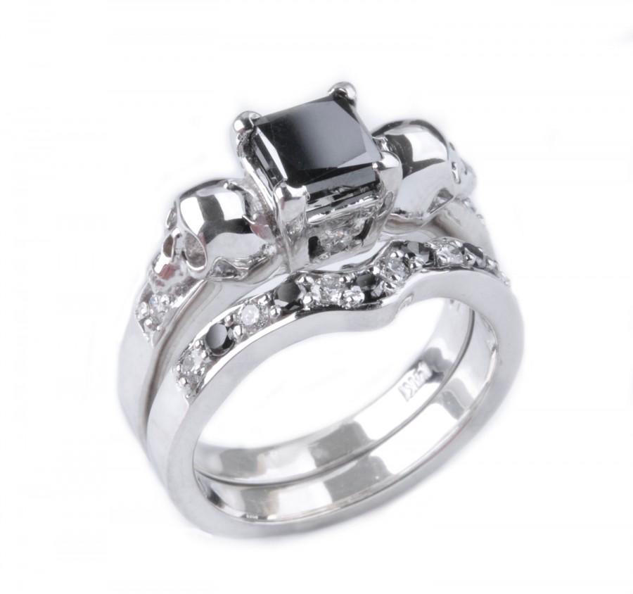 Custom 14k Gold Princess Cut Black Diamond And Skull Wedding Ring Shadow Set