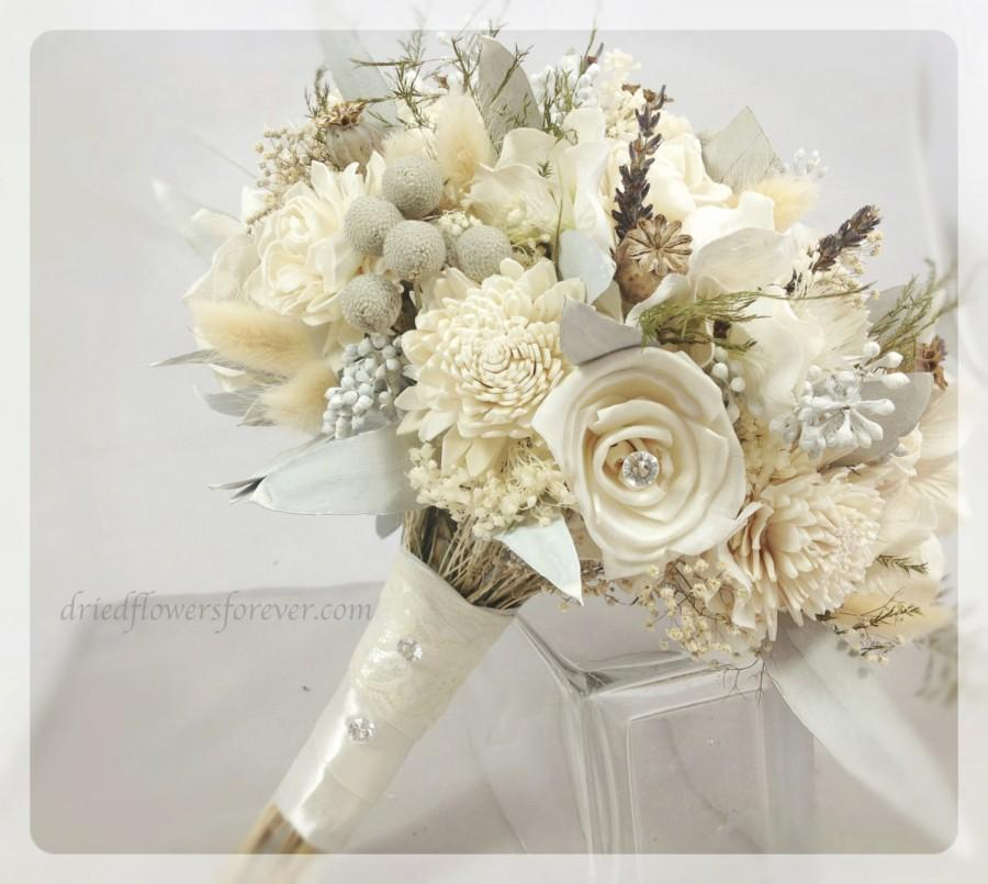 Dried Flower Wedding Bouquet Alternative Bridal Bouquets Gem Cream White Sola Gray Blue Lavender Brunia Silver Ice Collection