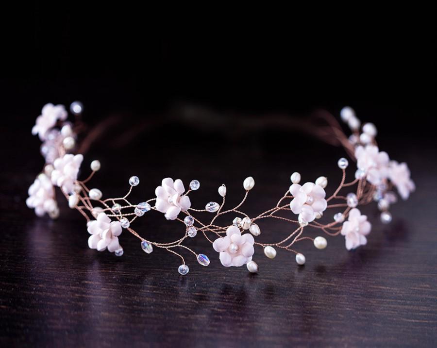 32 Blush Flower Tiara Rose Gold Bridal Crown Pink Pearl Wedding Accessories Hair Accessory