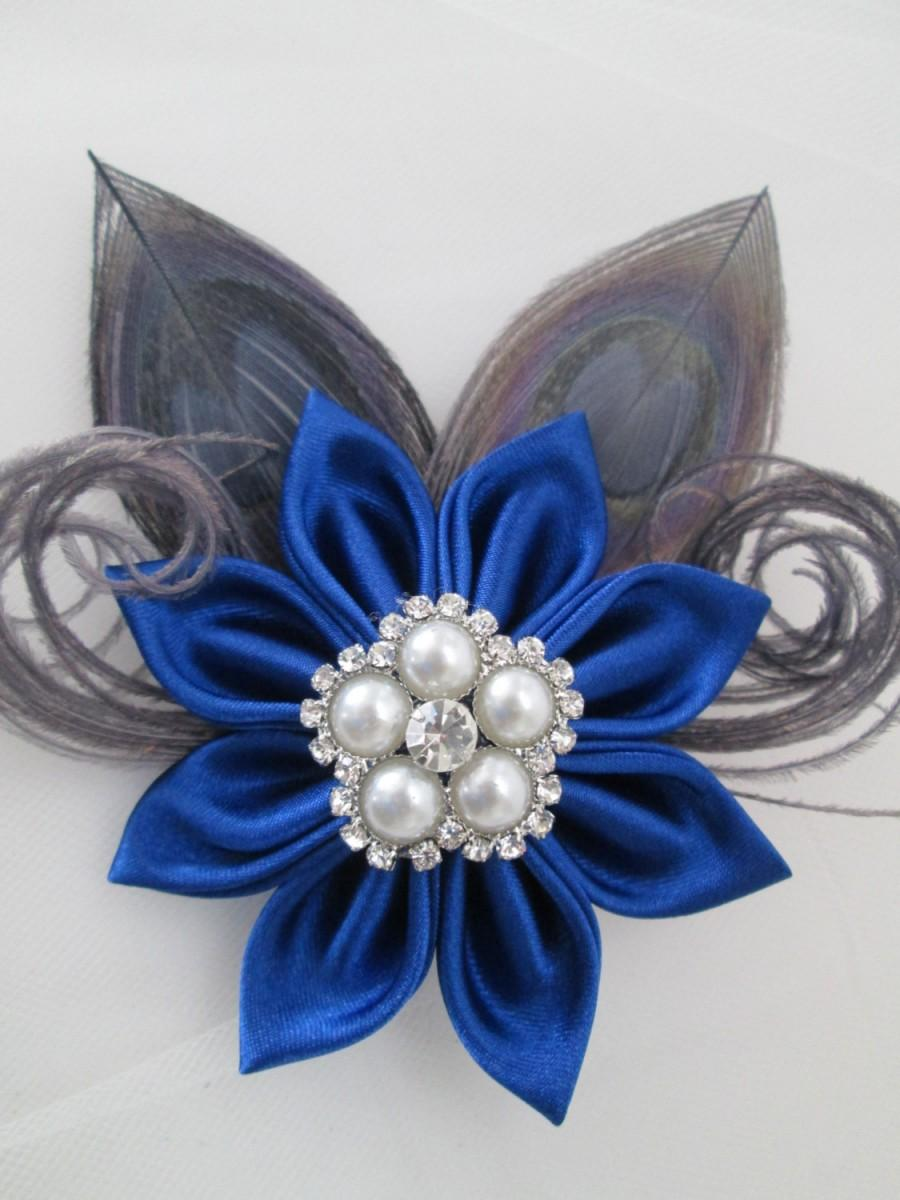 royal blue wedding hair clip, silver peacock fascinator, royal