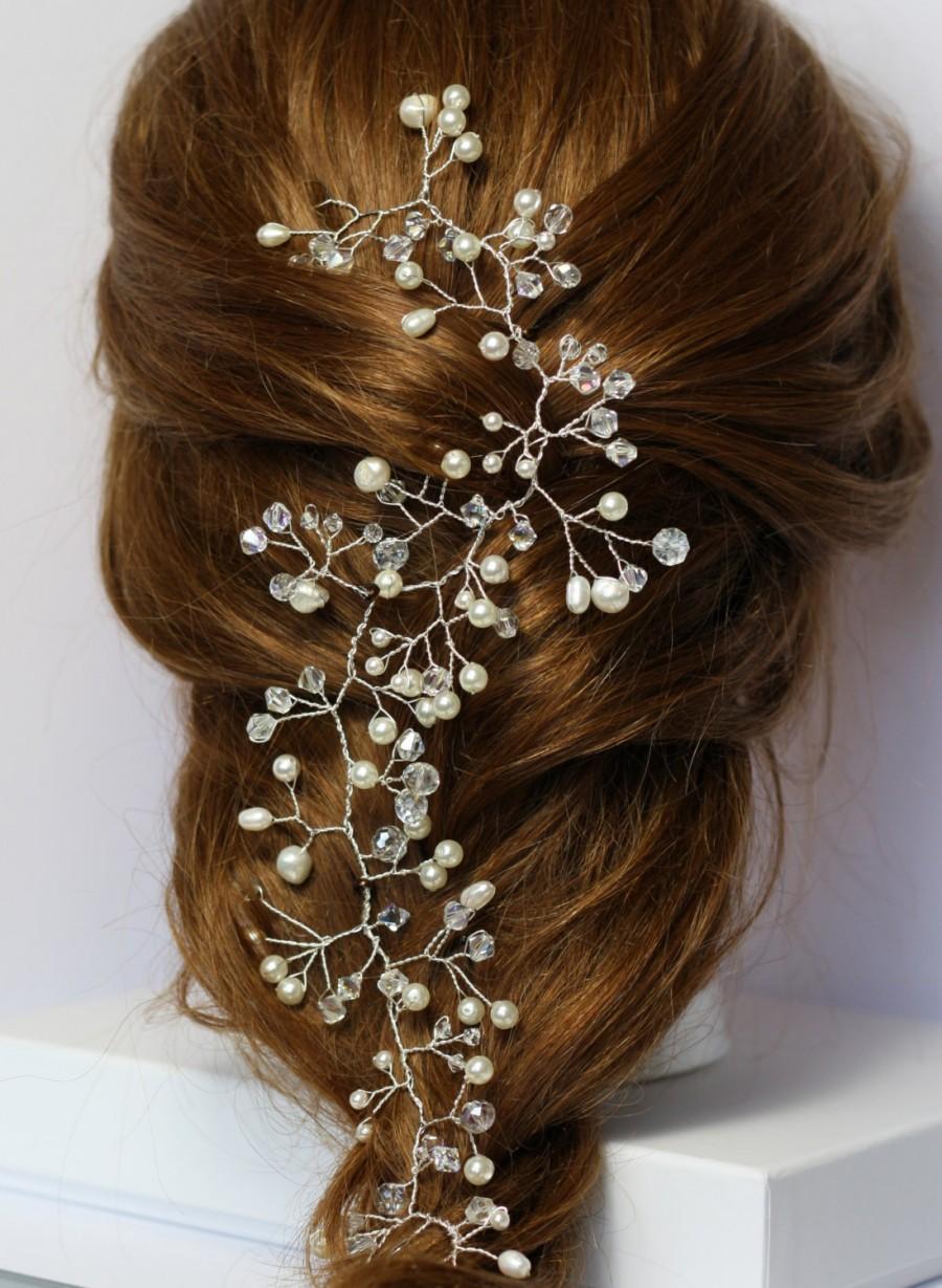 bridal hair vine, pearl and crystal hair vine, gyp hair vine, boho