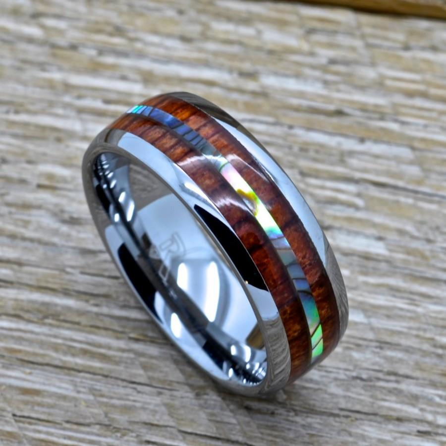 Mens Tungsten Ring With Abalone And Genuine Koa Wood Inlay 8mm Comfort Fit Wedding Band