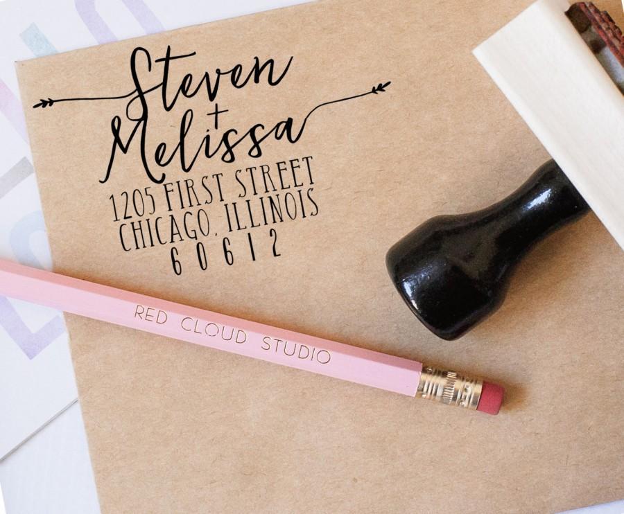 Return Address Stamp Wedding Invitation Save The Dates Calligraphy Custom Personalized