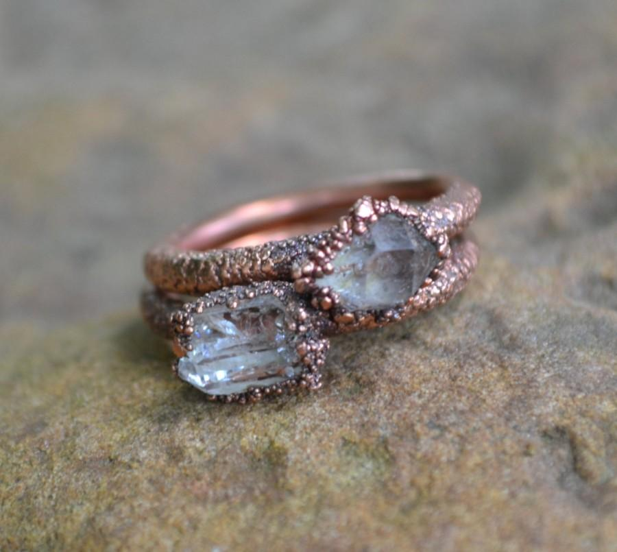 Herkimer Diamond Ring Copper Electroformed Raw Crystal Rings Natural Stone Unique Engagement Wedding
