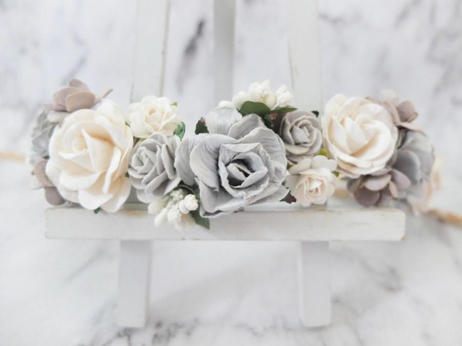 Grey And White Wedding Flower Crown Head Wreath Bridesmaid Hair Accessories S Garland