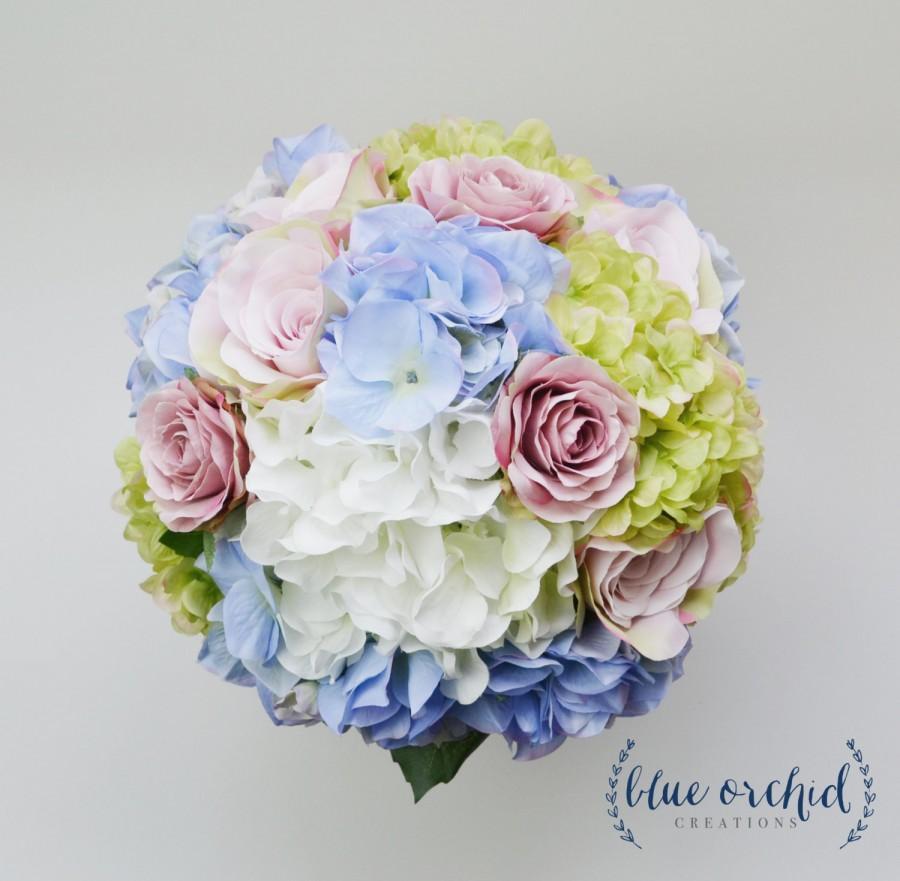 Hydrangea Bouquet Garden Style Bridal Blue Green Purple Lavender Cream Silk Wedding