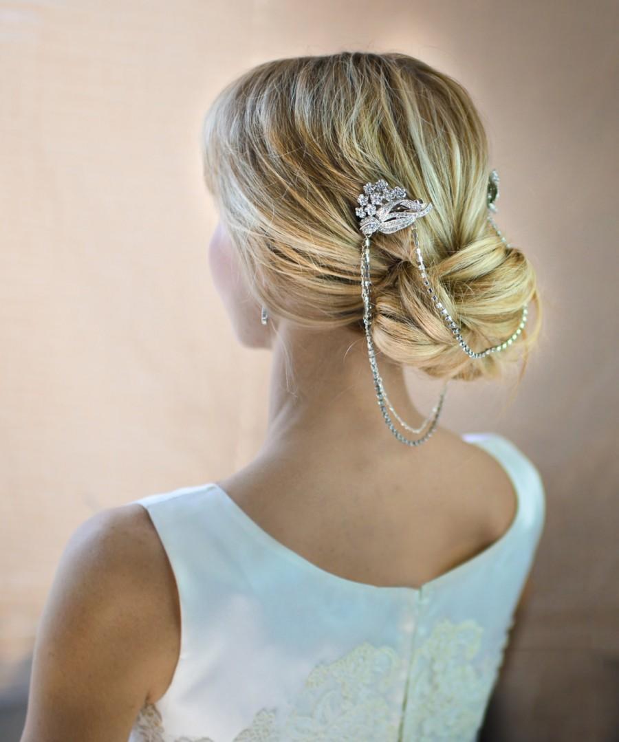 boho bridal hair chain, bridal hair wrap, floral wedding