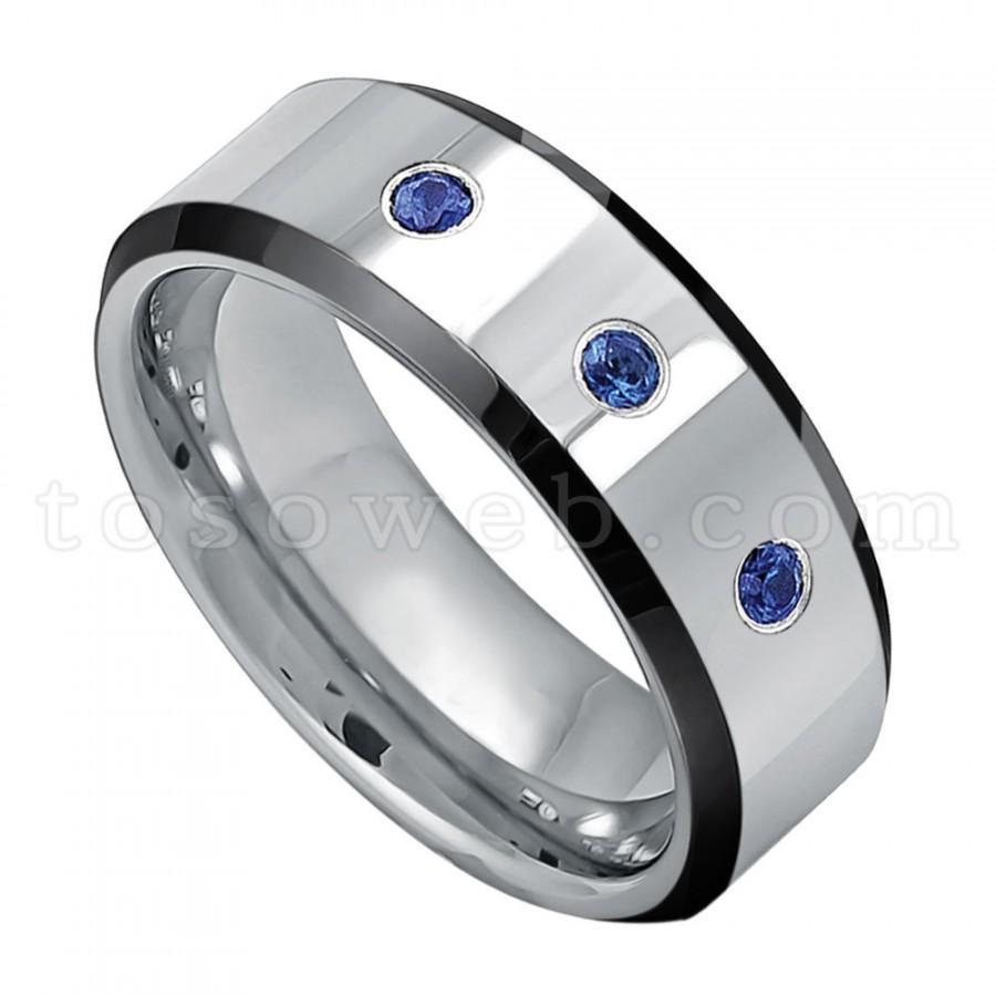 Wonderful Men's 0.21ct Blue Sapphire Gemstone 3-Stone Wedding Band  NJ97