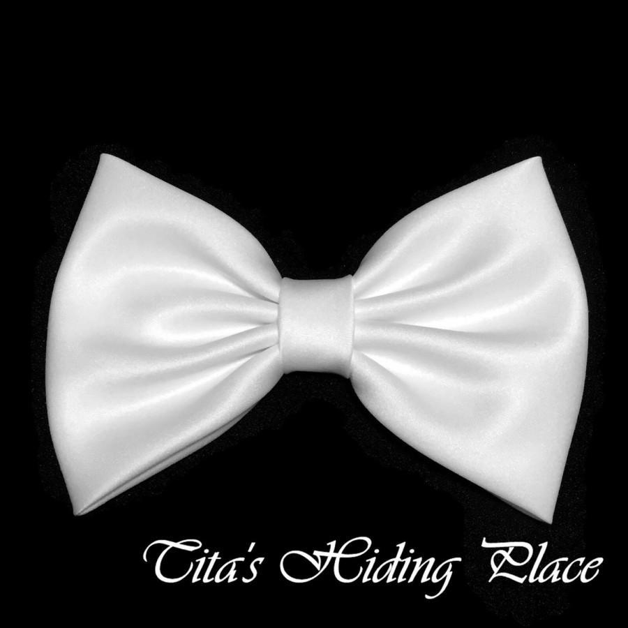white hair bow, satin hair bow clip, bows for women, kawaii bows