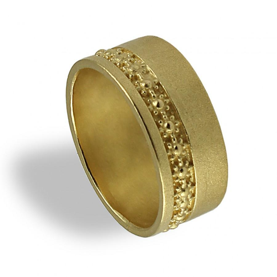 Yellow Gold Wedding Ring Fl Band Wide For Women Flower