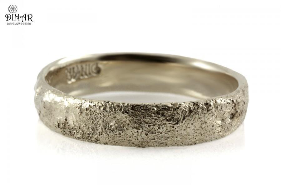 Fantastic Sterling Silver, Hammered Wedding Band, Tree Bark Texture Wedding  GM35