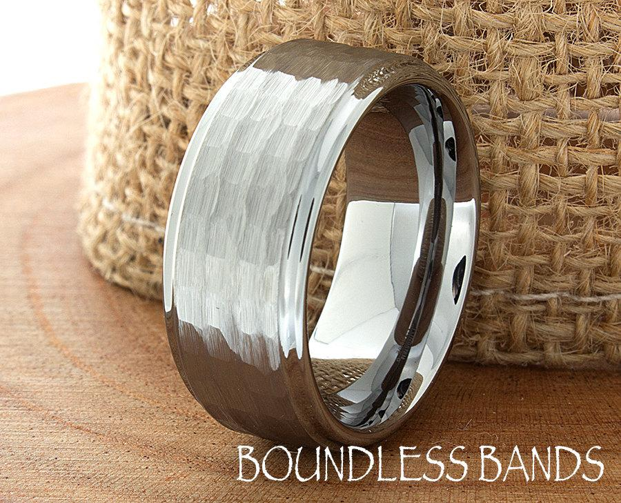 Hammered Tungsten Wedding Band Stepped Edges Brushed Custom Laser Engraved Ring 9mm Anniversary His Hers