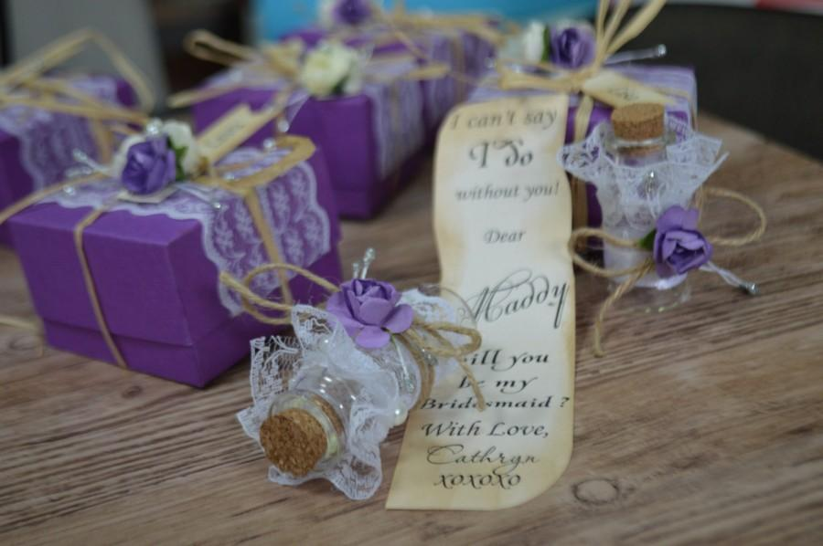 You Be My Bridesmaid Save The Date Message In A Bottle Rustic Wedding Invitations