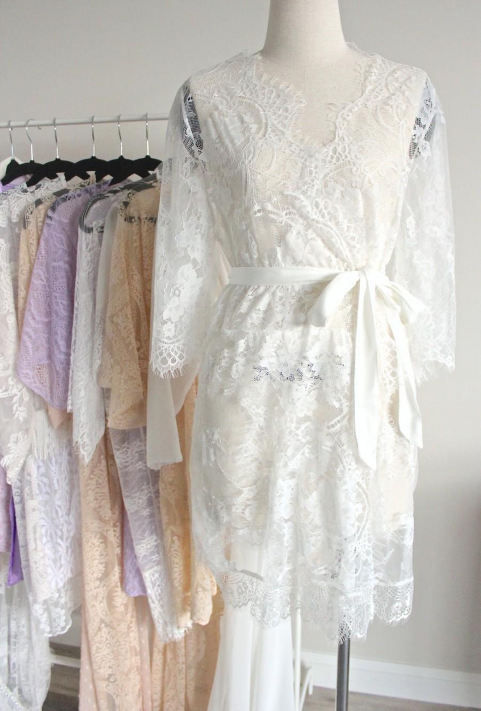 White Lace Bridal Robe Kimono Eyelash For Wedding Gift