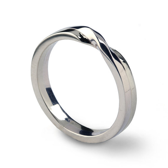Love Knot 18k White Gold Wedding Band Unique Mens Womens His And Hers Ring