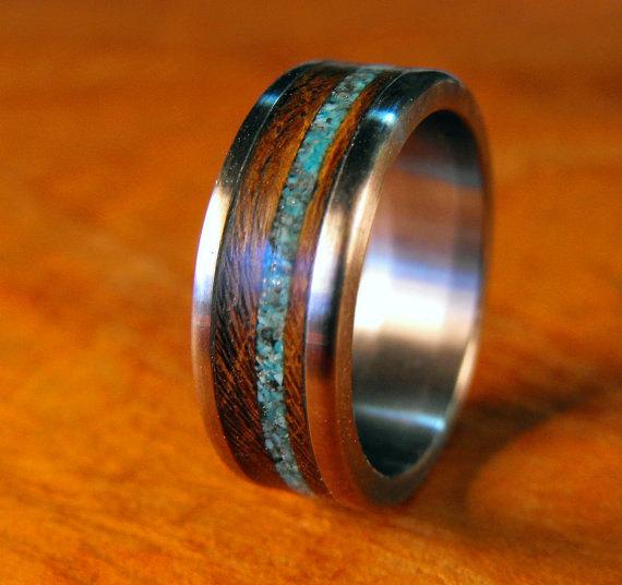 Anium Ring Wedding Stone Wood Turquoise Custom Made Mens Womens Handmade Unique