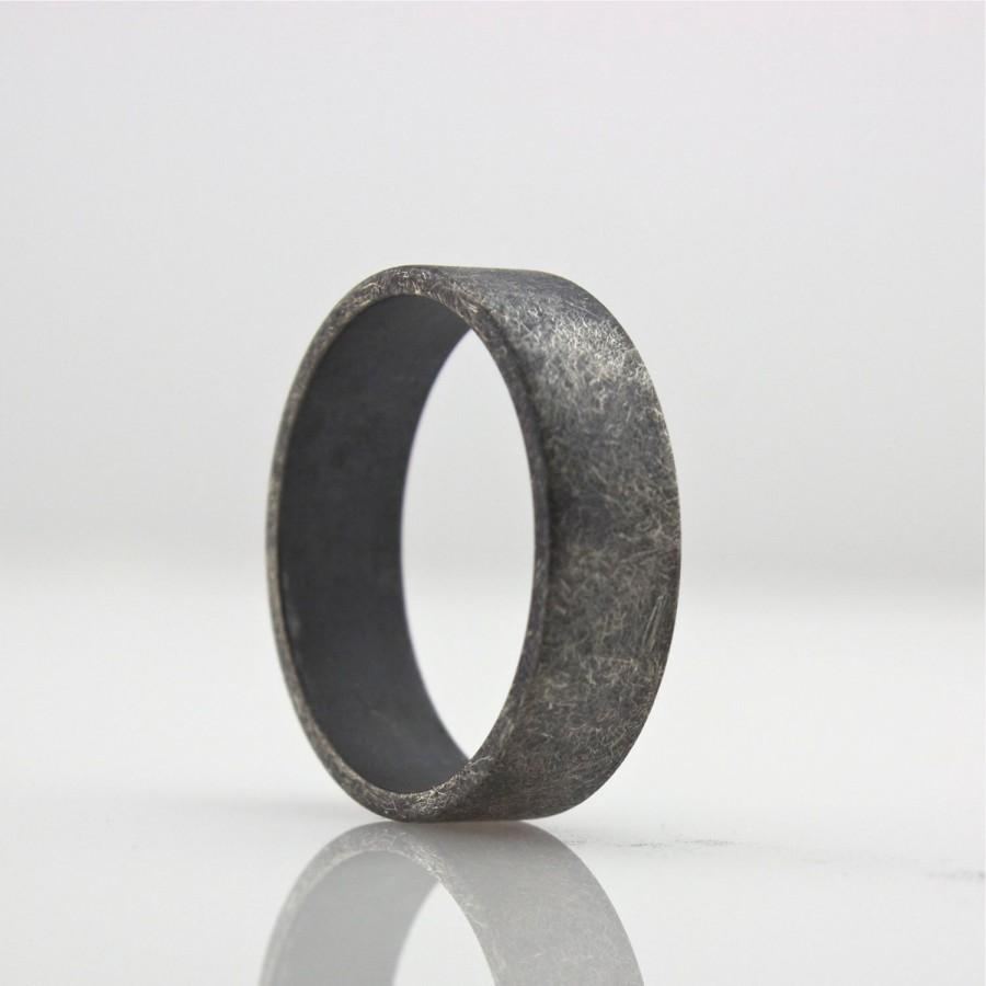 Wide Sterling Silver Ring Wedding Band Roughed Up Mens 6 Mm Oxidized Uni Simple And Modern Design