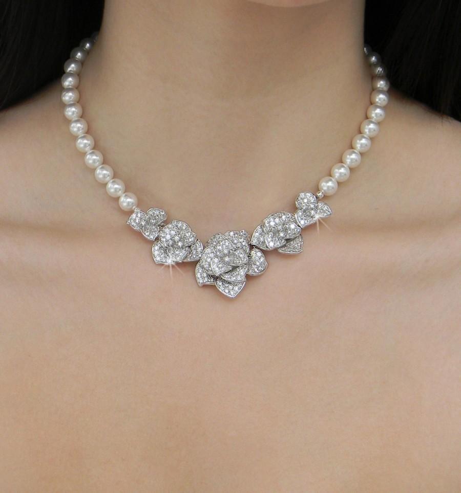 Bridal Jewelry Set Swarovski Wedding Necklace Flower Earrings Chunky Bridesmaids Rhinestone Crystal Scarlett