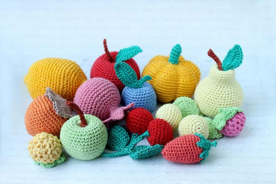 Crochet Fruits Vegetables Play Food Soft Toys Handmade Toy Eco Friendly Kitchen Decoration Set Of 13 Pcs