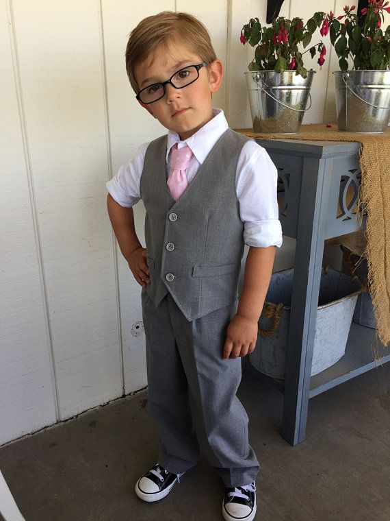 Boys Vest And Pants Grey Toddler Ring Bearer Outfit Baby Boy Easter Wedding Photo Prop