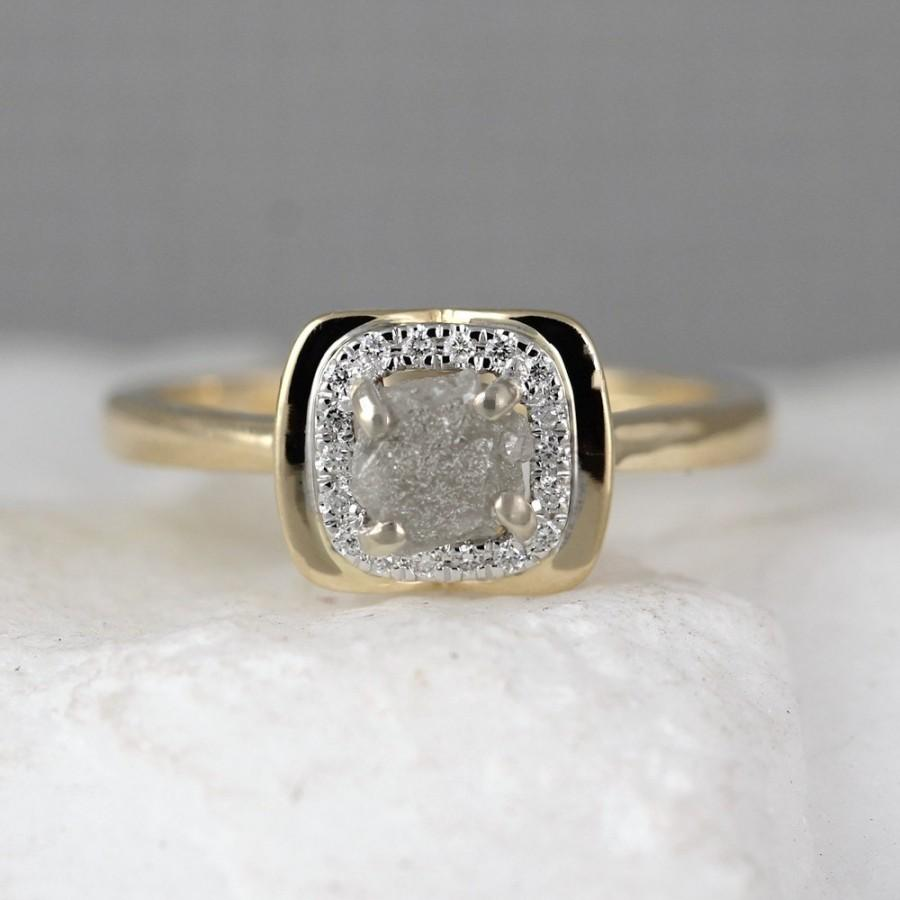 14k Yellow Gold Raw Diamond Halo Ring Rough Engagement Rings Uncut Conflict Free Gemstone