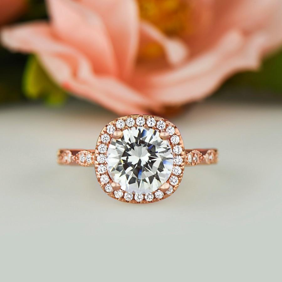 2 25 Ctw Halo Wedding Ring Vintage Style Man Made Diamond Simulant Art Deco Engagement Sterling Silver Rose Gold Plated