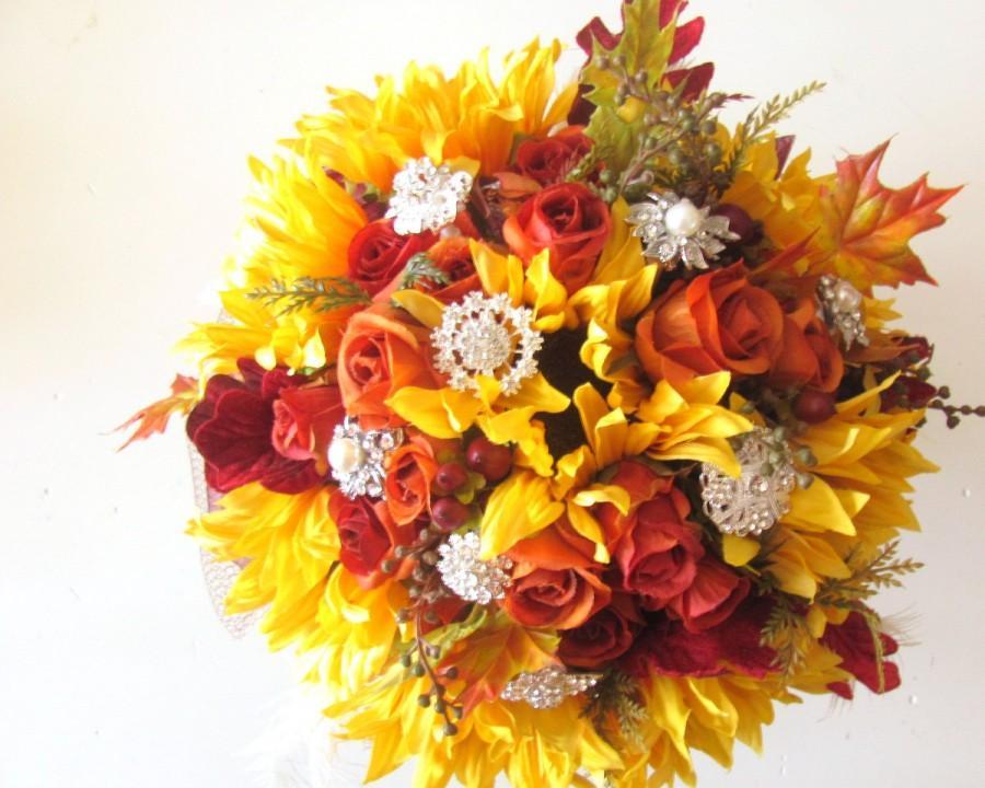 Silk Flowers Fall Wedding Bouquet Sunflowers Orange Roses Autumn Leaves Brooch Rustic Barn Package
