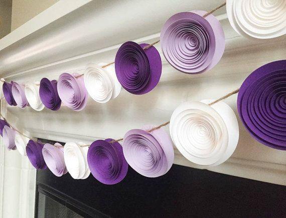 Excellent Paper Flower Garland - Wedding Garland - Nursery Decor - Purple  AQ07