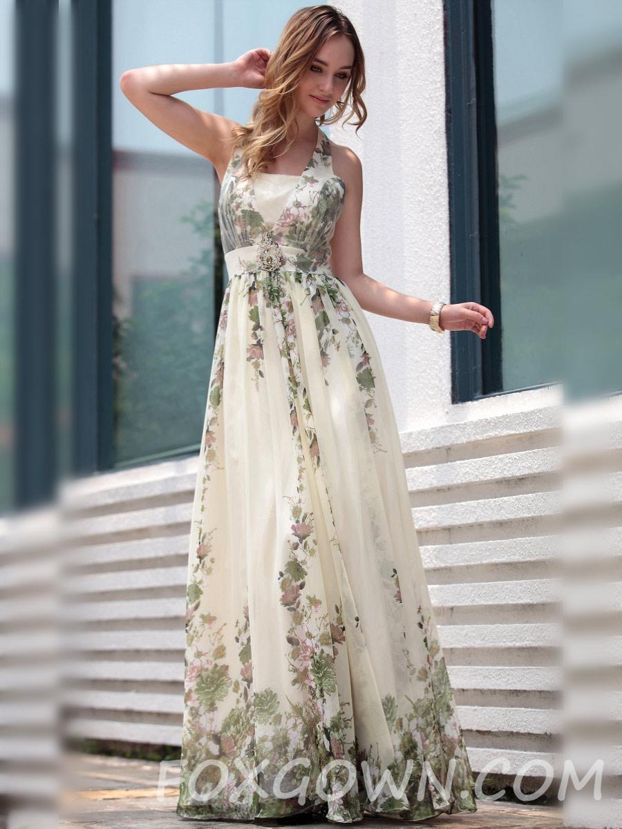 Ärmelloses Halter In Voller Länge Formale Kleid Mit Blumen-Print