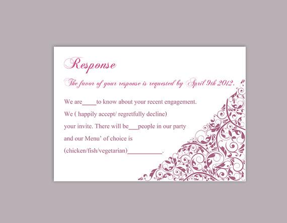 Diy Wedding Rsvp Template Editable Text Word File Printable Cards Purple Eggplant Card Elegant