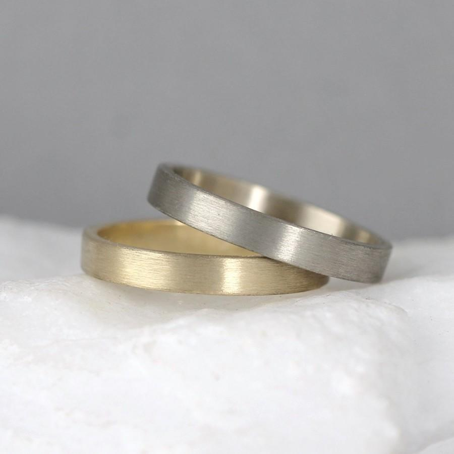 3mm 14k Gold Wedding Band Men S Or Las Rings Matte Finish Yellow White Commitment Clic Flat Bands