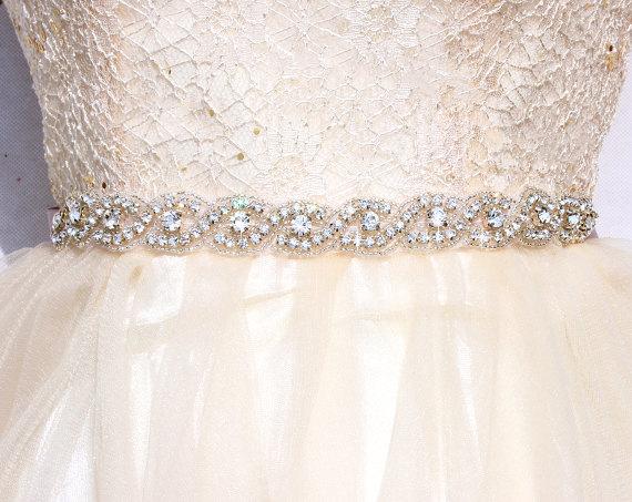 All Around Bridal Belt Wedding Sashes And Belts Dress Thin Bridesmaid Beaded Rhinestone Sash