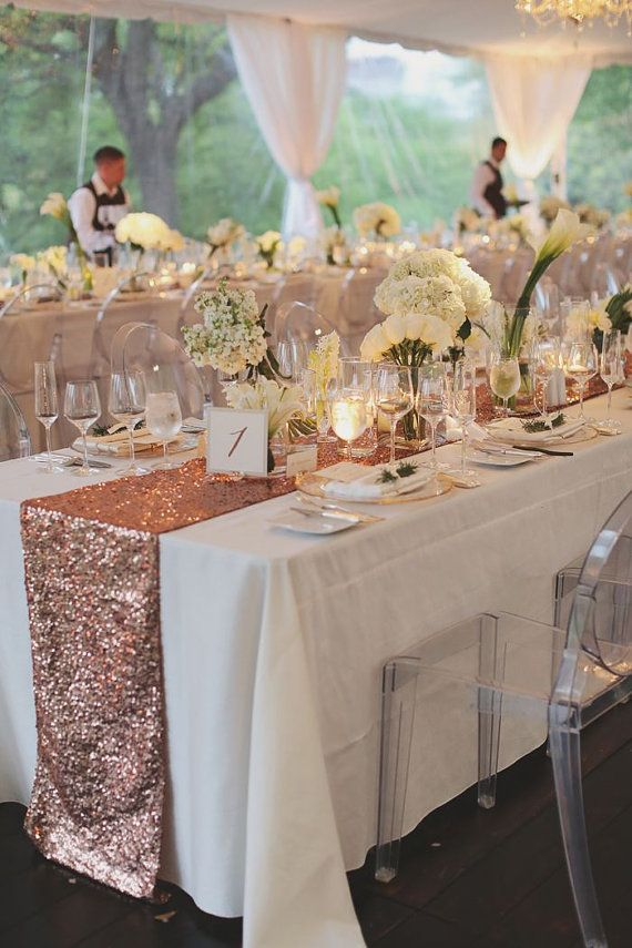 Blush Rose Gold Sequin Table Runner And Tablecloth