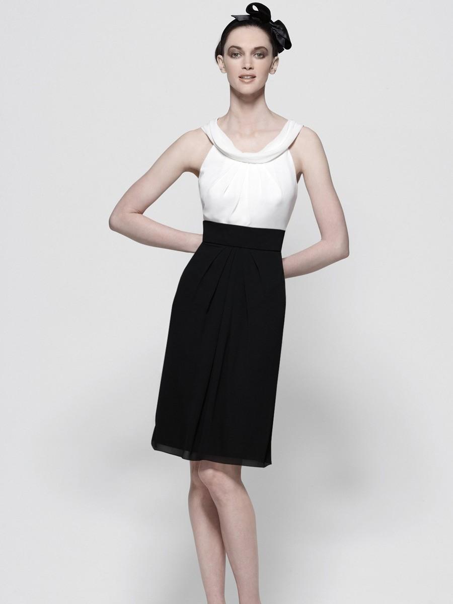 Schwarz Und Weiß Chiffon Zweifarbige Hülle Brautjungfer Kleid Mit