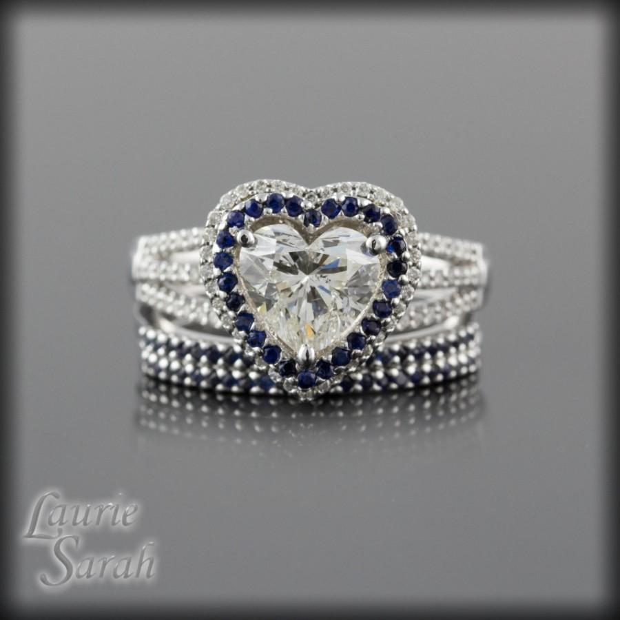 Engagement Ring Heart Diamond Three Wedding Set With Diamonds And Dark Blue Shires Ls1619
