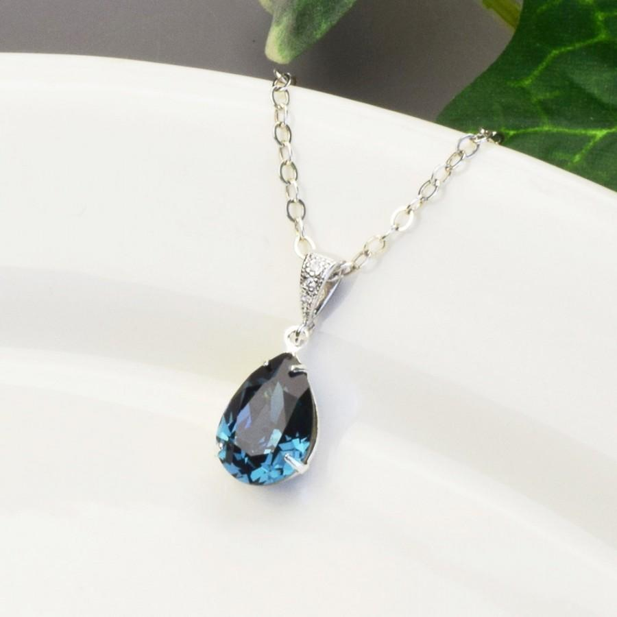 Top Navy Blue Necklace - Swarovski Crystal Teardrop Pendant Necklace  OH84