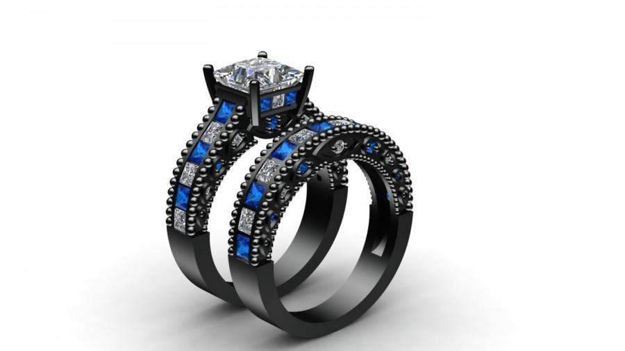 Doctor Who Inspired 3 80 Ct White Princess Cut Engagement Wedding Ring Band Set 925 Silver 10k Black Gold Finish