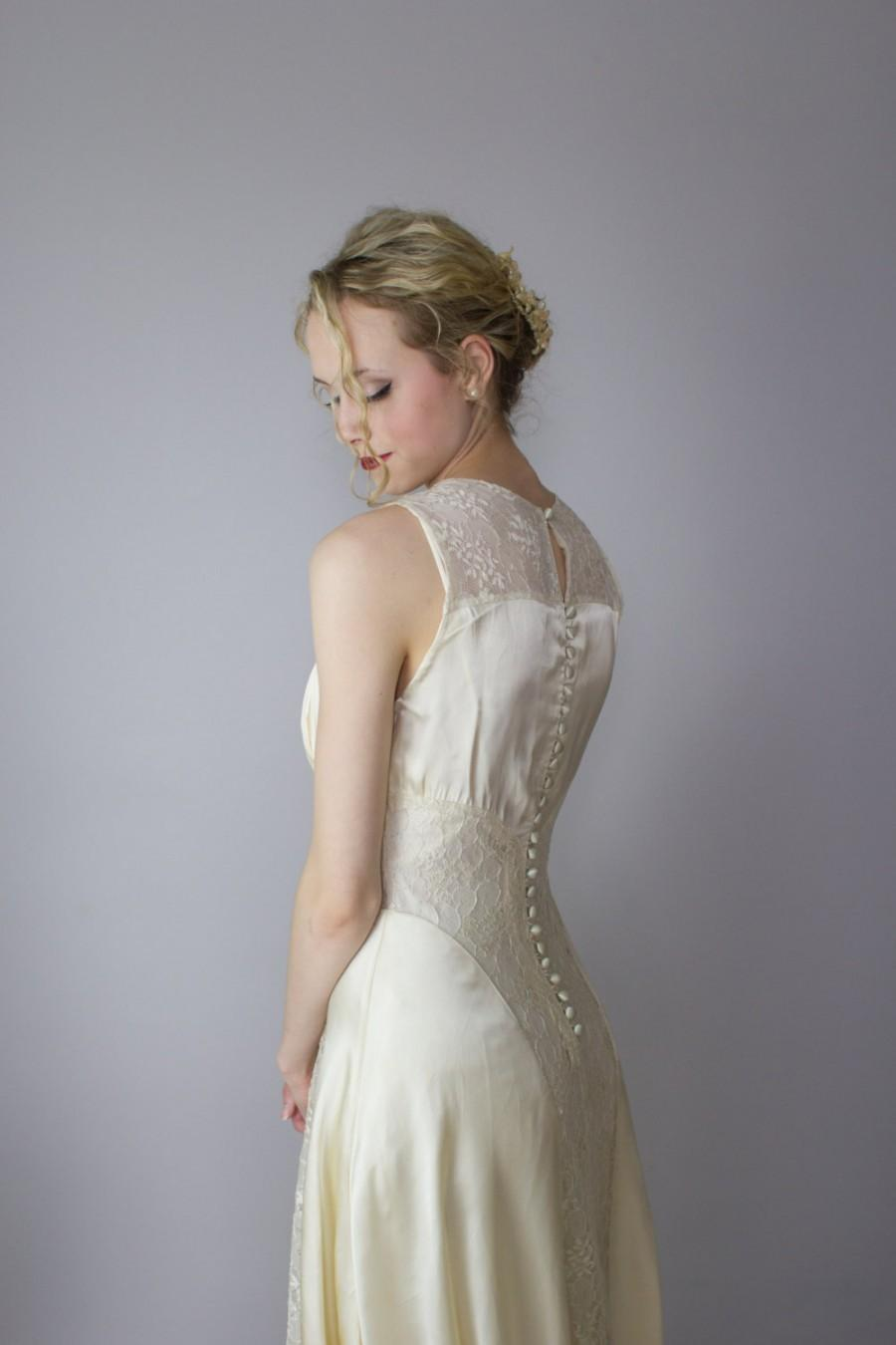 1930 S Art Deco Wedding Gown Satin Lace Cathedral Train Size Xs Long