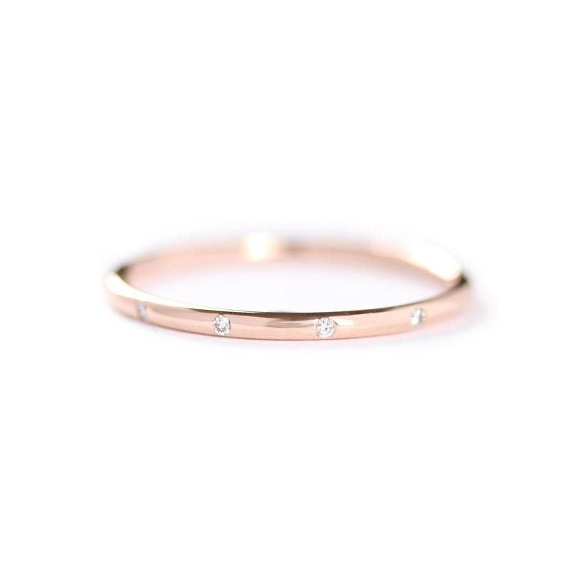 14k Solid Rose Gold E Apart Five Diamonds Wedding Band Simple Diamond Ring Stackable Elegant