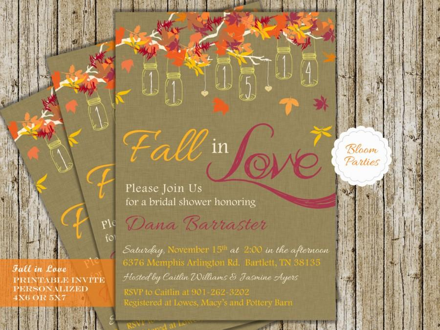 Fall In Love Bridal Shower Invite Digital Printable Invitation Falling Wedding With Hanging Mason Jars