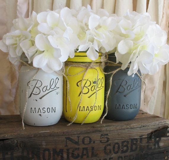 Set Of 3 Pint Mason Jars Painted Yellow And Gray Country Home Decor