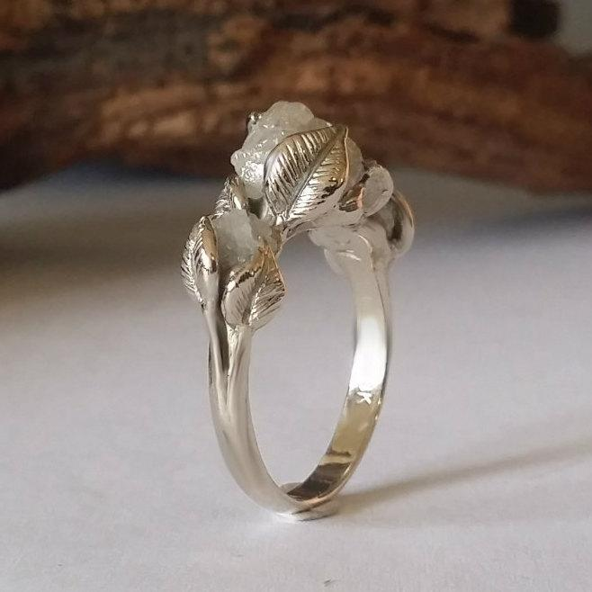 Raw Diamond Engagement Ring 18k White Gold And Rough Three Stone