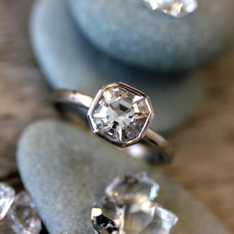 Cut In The Usa Cruelty Free Herkimer Diamond Gemstone Ring 14k Palladium White Engagement Cher For Unique Bride