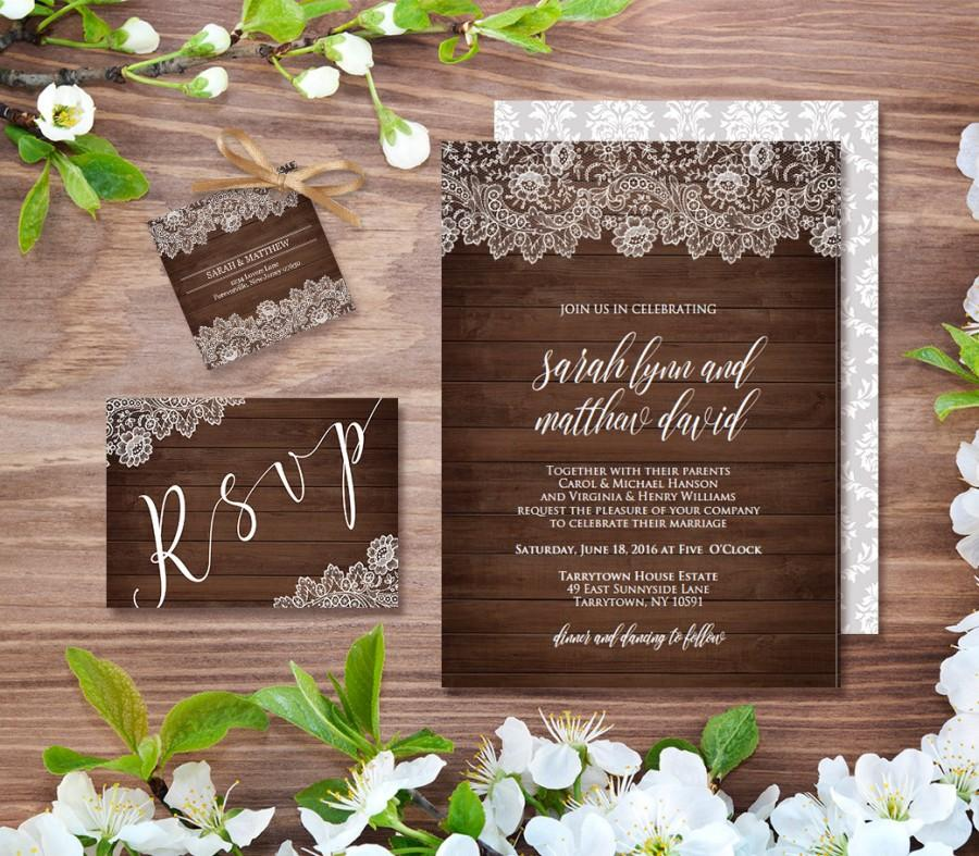 Wedding Invitation Template Rustic Wood Vintage Lace Diy Instant Printable Invite Digital Editable Pdf