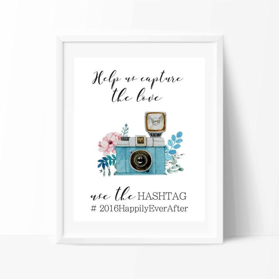 Wedding Hashtag Sign Printable Art Instagram Poster Vintage Custom Decor